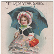 Signed Clapsaddle Girl in Ruffled Dress with Parasol Vintage New Year Postcard