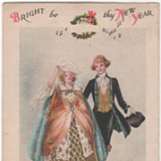 Signed Clapsaddle Colonial Couple Candelabra Vintage New Year Postcard