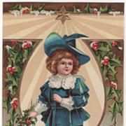 Signed Clapsaddle Boy in Blue with Holly Vintage New Year Postcard
