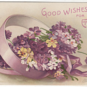 SOLD Artist Signed Clapsaddle Box of Pansies and Purple Ribbon Vintage Easter Postcard