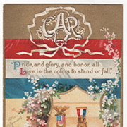 Artist Signed Clapsaddle Shield Two Medals Flowers GAR Vintage Patriotic Postcard