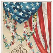 SOLD Artist Signed Clapsaddle American Flag Flower Garlands GAR Vintage Patriotic Postcard