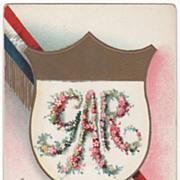 Artist Signed Clapsaddle Shield Sash GAR in Flowers Vintage Patriotic Postcard
