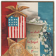 Artist Signed Clapsaddle GAR Convention Badge Scroll White Flowers Vintage Patriotic Postcard