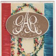 Artist Signed Clapsaddle Garlands of Flowers GAR in White Vintage Patriotic Postcard