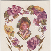 Purple and Yellow Pansies Framing Girl in a Green Hat Vintage Valentine Postcard
