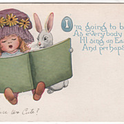 SOLD Artist Signed C A Bayer Little Girl Rabbit with Songbook Vintage Easter Postcard