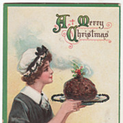 Artist Signed F Brundage Young Maid with Pudding Vintage Christmas Postcard B