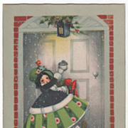 Artist Signed K Elliott Little Girl Knocking Door Vintage Christmas Postcard B