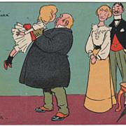 Artist Signed Tom Browne Fat Man Kissing Little Girl Vintage Comic Postcard