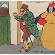Artist Signed Tom Browne Man Swearing at Missed Train Vintage Comic Postcard