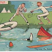 Artist Signed Tom Browne Three Sailors Sunken Rowboat Vintage Comic Postcard