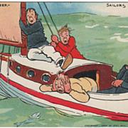 Artist Signed Tom Browne Four Seasick Sailors Sailboat Vintage Comic Postcard