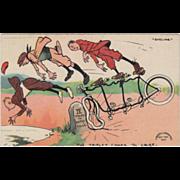 Artist Signed Tom Browne Triplet Three Person Bicycle Vintage Comic Postcard