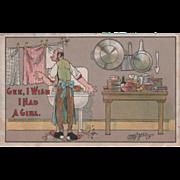 Artist Signed Carmichael Man Wishing for Girlfriend Vintage Comic Postcard