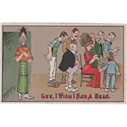 Artist Signed Carmichael Woman Wishing for Boyfriend Vintage Comic Postcard
