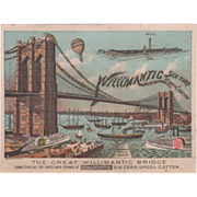 Willimantic Six Cord Spool Cotton E L Brininstool Lyndonville NY Vintage Trade Card