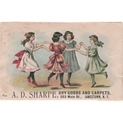 A D Sharpe Dry Goods & Carpets 203 Main St Jamestown NY Vintage Trade Card