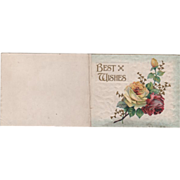 """""""Best Wishes"""" Red and Yellow Roses Vintage Christmas Card"""