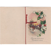 People in Snow Dog Holly and Berries Vintage Christmas Card