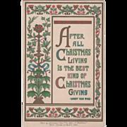 Art Nouveau Pedestal with Vines and Assorted Fruit Vintage Christmas Card