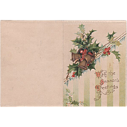 Golden Bells Holly and Red Berries Icicles Vintage Christmas New Year Card