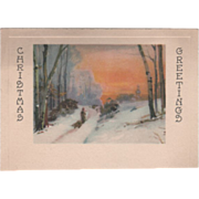 """Man Pulling Boy on a Sled in the Snow """"Season's Greetings"""" Christmas Card"""