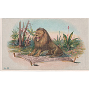 """Prudential Insurance Co """"The Lion and the Mouse"""" Small Vintage Postcard"""