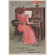 The Malcolm Love Piano For Sale by J H Jenne Albion NY Vintage Trade Card