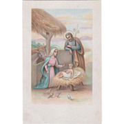 Thatched Roof Stable The Holy Family Birds Vintage Christmas Postcard