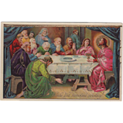 Scene of the Last Supper Christ and the Disciples Vintage Religious Postcard