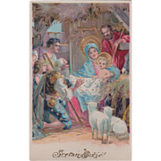Stable The Holy Family Adoration of the Shepherds Vintage Christmas Postcard
