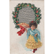 Little Girl in a Yellow Dress and Blue Shawl with Fan Vintage Christmas Postcard