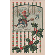 Two Boys Riding a Sled Another Boy Pulling a Sled Vintage Christmas Postcard