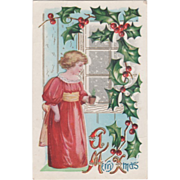 Little Girl in a Red Dress with a Yellow Sash Holly Vintage Christmas Postcard
