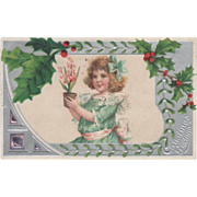 Little Girl with Potted Plant Mistletoe and Holly Vintage Christmas Postcard