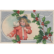 Little Girl in Pink and White with Dove on Shoulder Vintage Christmas Postcard