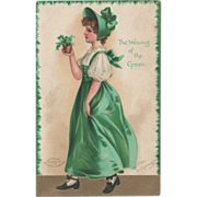 Signed Clapsaddle Lady in a Green Dress Vintage St Patrick's Day Postcard