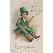 Signed Clapsaddle Boy in Green with Horns Vintage St Patrick's Day Postcard