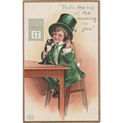 Signed Clapsaddle Boy in Green on Telephone Vintage St Patrick's Day Postcard