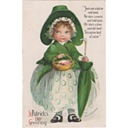 Signed Clapsaddle Girl in Green and White Vintage St Patrick's Day Postcard