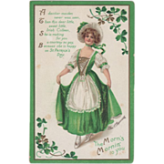 SOLD Signed Clapsaddle Woman in Green and White Vintage St Patrick's Day Postcard