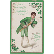 Signed Clapsaddle Man in Green and White Vintage St Patrick's Day Postcard