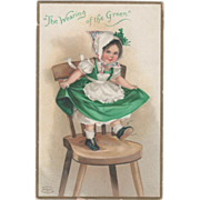 Unsigned Clapsaddle Child Dancing on Chair Vintage St Patrick's Day Postcard