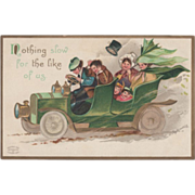 Signed Clapsaddle People in an Early Auto Vintage St Patrick's Day Postcard