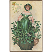 SOLD Signed Clapsaddle Woman in Pot of Clover Vintage St Patrick's Day Postcard