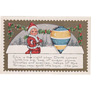 Whitney Nimble Nick with a Spinning Top and Holly Vintage Christmas Postcard
