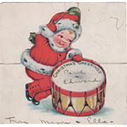 Whitney Die Cut Nimble Nick Playing a Drum Vintage Christmas Note Card