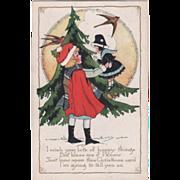 Whitney Little Girl with Doll Fur Tree Robins Vintage Christmas Postcard