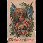 U S Flags Turkey Gobbler Eagle on a Shield Vintage Thanksgiving Postcard